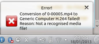 Error! Conversion failed! Reason: Not a recognised media file!